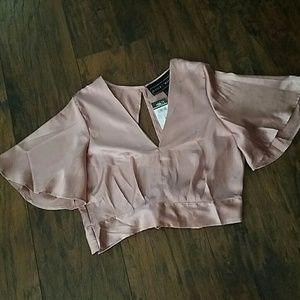 Dusty pink crop blouse